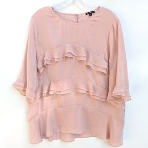Who What Where Pink Blouse with Ruffles, XL